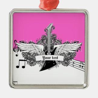 Guitarra eléctrica rosada candente negra con las adorno navideño cuadrado de metal