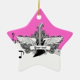 Guitarra eléctrica rosada candente negra con las adorno navideño de cerámica en forma de estrella