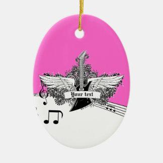 Guitarra eléctrica rosada candente negra con las adorno navideño ovalado de cerámica
