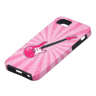 Guitarra eléctrica rosada femenina iPhone 5 protectores