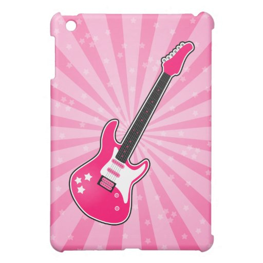 Guitarra eléctrica rosada femenina