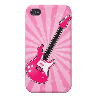 Guitarra eléctrica rosada femenina iPhone 4 protectores