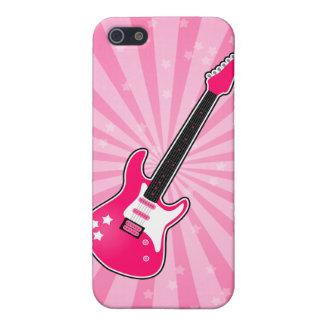 Guitarra eléctrica rosada femenina iPhone 5 protector
