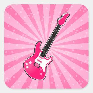Guitarra eléctrica rosada femenina pegatina cuadrada