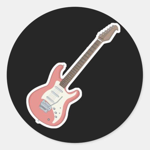 guitarra eléctrica rosada pegatina redonda