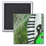Guitarra eléctrica verde con el teclado imán cuadrado