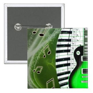 Guitarra eléctrica verde con el teclado pin cuadrado