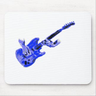 Guitarra eléctrica y manos, versión azul alfombrilla de ratón