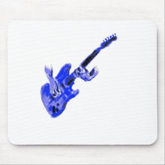 Guitarra eléctrica y manos, versión azul tapete de raton