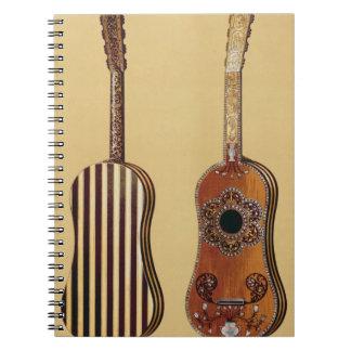 Guitarra embutida con nacarado, de 'Musical Libro De Apuntes Con Espiral