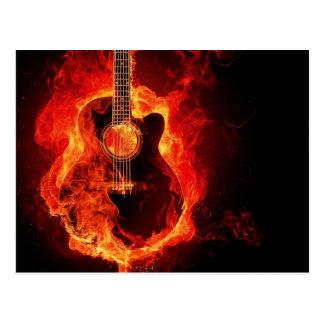 Guitarra en el fuego postal