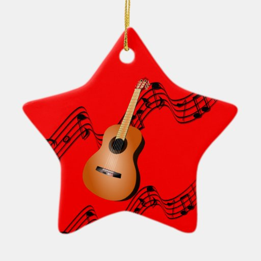 Guitarra en el ornamento rojo asteroide del navida ornamento de reyes magos