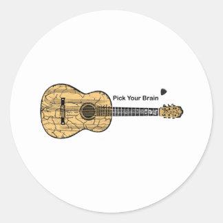 Guitarra: Escoja su cerebro Pegatina Redonda