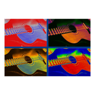 Guitarra española clásica del arte pop póster