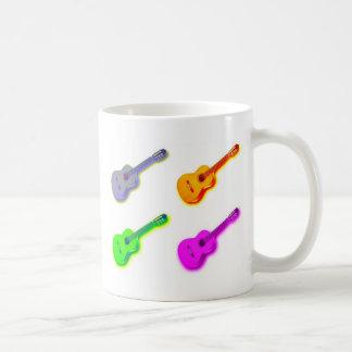 Guitarra española clásica del arte pop taza de café