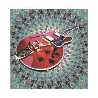 Guitarra grande en remolino del extracto del impresiones de lienzo