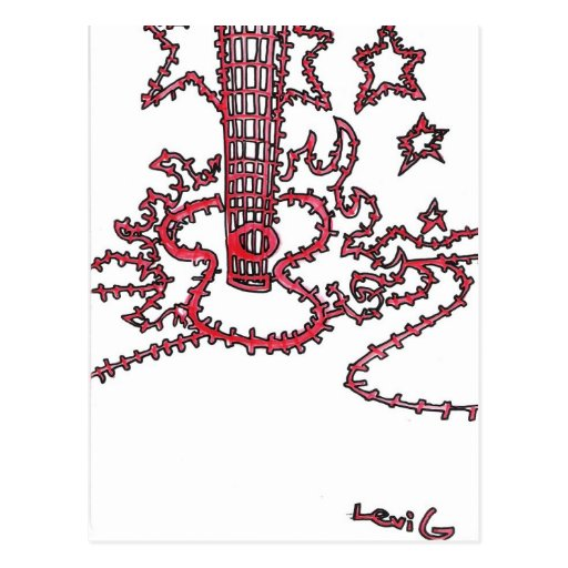 Guitarra llameante roja tarjetas postales