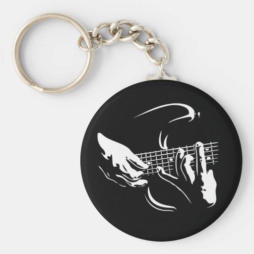 guitarra-manos-DKT Llavero Redondo Tipo Pin