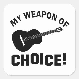Guitarra mi arma de la opción pegatina cuadradas personalizadas