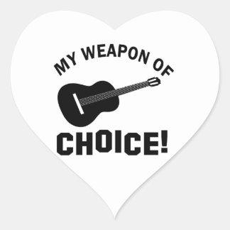 Guitarra mi arma de la opción pegatinas corazon