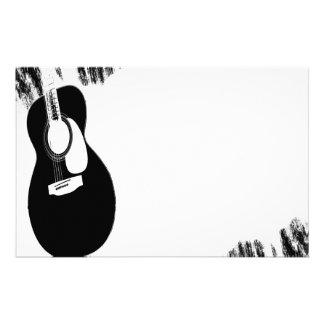 Guitarra negra papelería de diseño