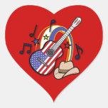Guitarra occidental del país pegatina en forma de corazón
