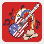 Guitarra occidental del país pegatina cuadrada