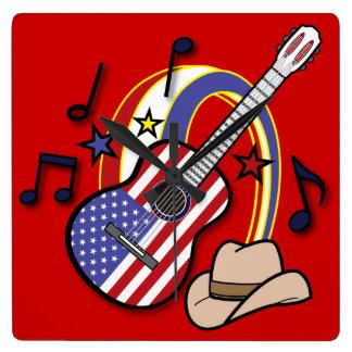 Guitarra occidental del país reloj cuadrado