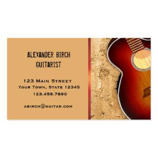 Guitarra, pared de piedra tarjetas de visita