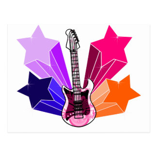Guitarra pegada estrella postales