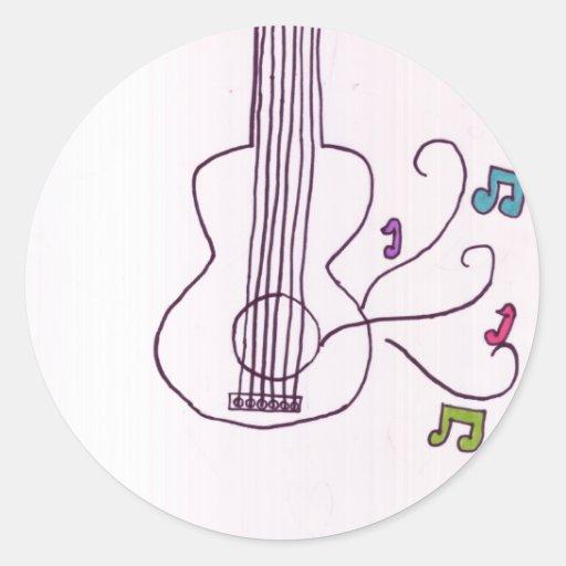 Guitarra Pegatinas Redondas