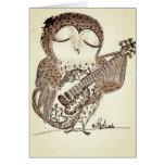Guitarra que juega el búho tarjetas