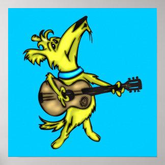 Guitarra que juega el perro impresiones