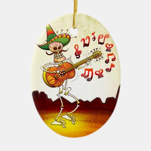 Guitarra que juega esquelética mexicana ornatos