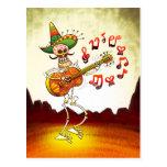 Guitarra que juega esquelética mexicana postal