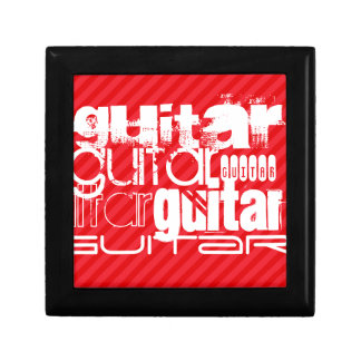 Guitarra; Rayas del rojo del escarlata Caja De Regalo Cuadrada Pequeña
