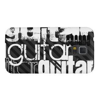 Guitarra; Rayas negras y gris oscuro Fundas De Galaxy S5