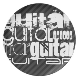 Guitarra; Rayas negras y gris oscuro Plato Para Fiesta