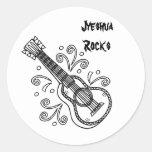 guitarra, rocas de Jyeshua Pegatina Redonda