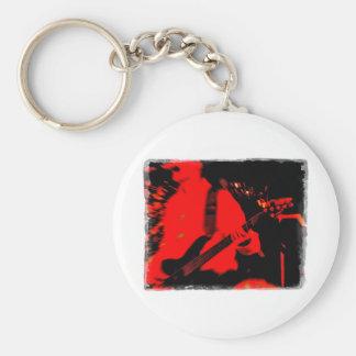 Guitarra roja de la roca llavero redondo tipo pin