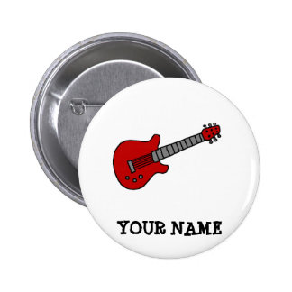 Guitarra roja de Rockin Pin Redondo 5 Cm