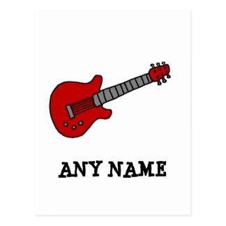 Guitarra roja de Rockin Tarjetas Postales