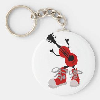 Guitarra roja divertida en diseño rojo de las llavero redondo tipo pin