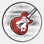 Guitarra roja pegatina redonda