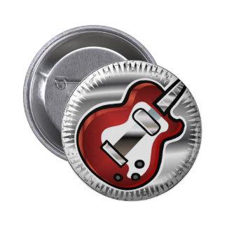 Guitarra roja pin redondo de 2 pulgadas