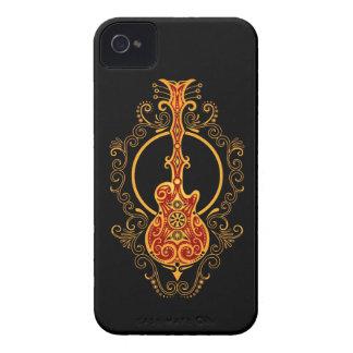 Guitarra roja y negra de oro compleja Case-Mate iPhone 4 cobertura