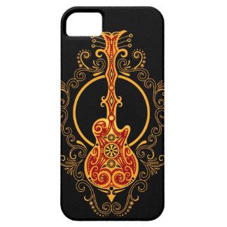 Guitarra roja y negra de oro compleja funda para iPhone SE/5/5s