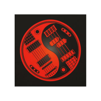 Guitarra roja y negra y Yin bajo Yang Impresión En Madera