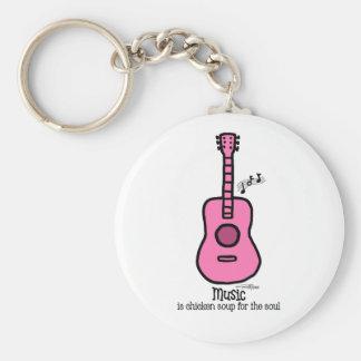 Guitarra rosada del color - música llavero