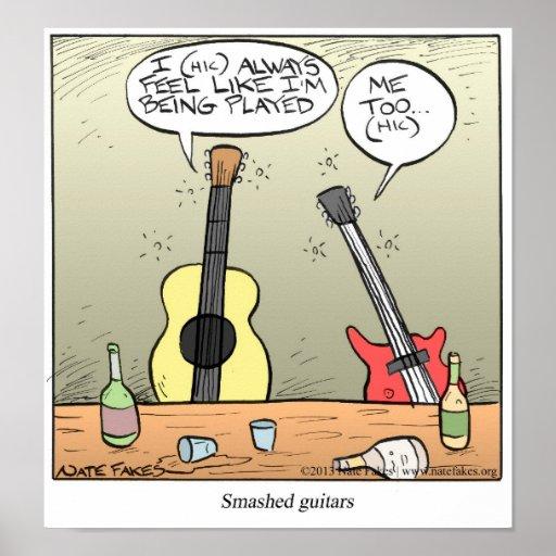 Guitarra rota póster